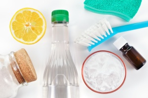 Natural cleaner. Vinegar, baking soda, salt, lemon
